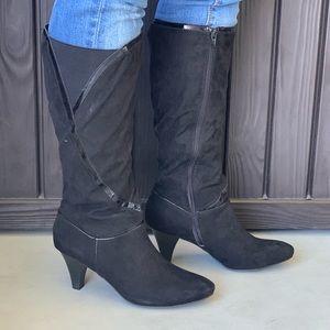 Black Kitten Stiletto Heel Knee High Boots